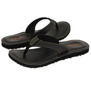 Clark's Black Leather Classic Flip Flop Sandals